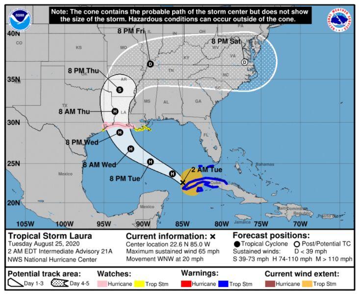 Prognozowana trasa przejścia burzy tropikalnej Laura (NOAA)