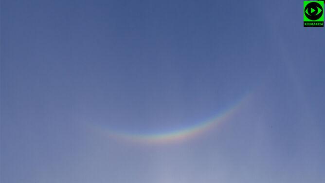 Jak kolorowy uśmiech na niebie. <br />Rzadkie zjawisko nad Wielkopolską