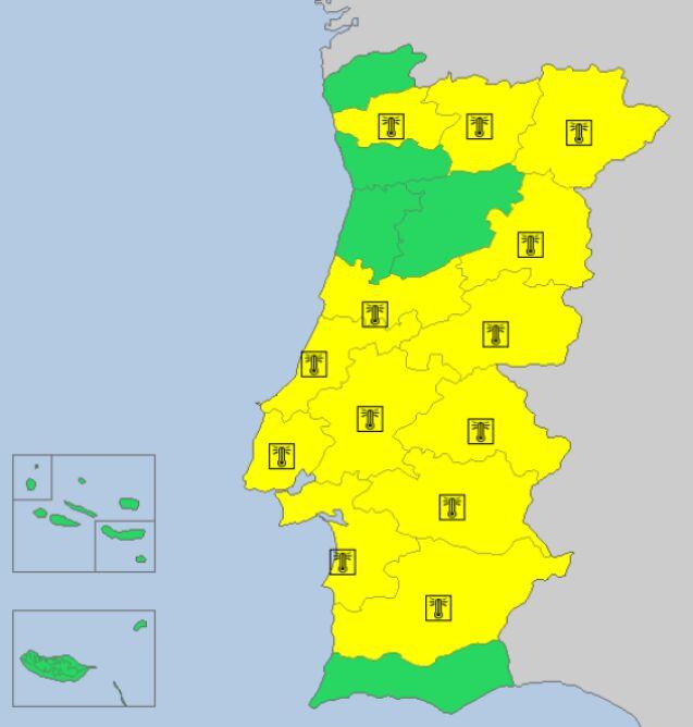 Ostrzeżenia meteorologiczne w Portugalii (meteoalarm.eu)