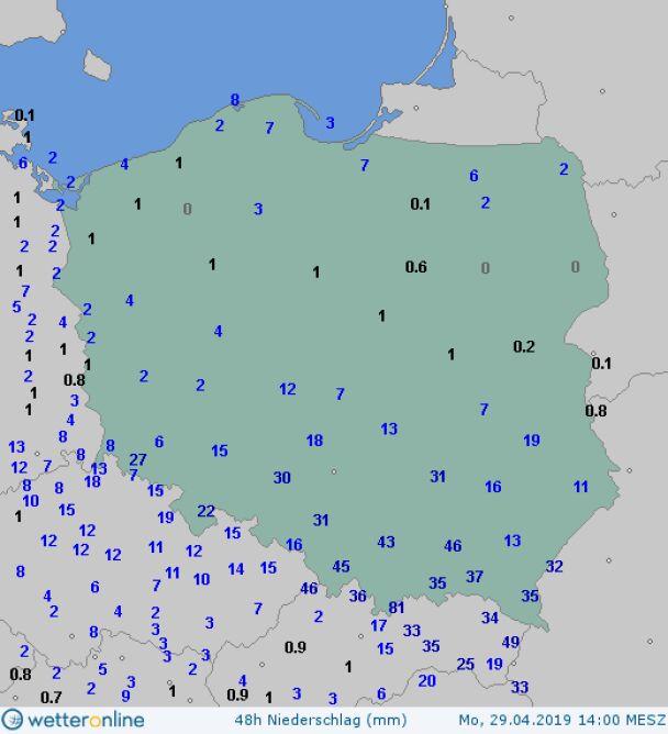 Opady w Polsce w ciągu 48 godzin od poniedziałku od godziny 14 (za wetteronline.de)